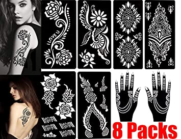 e9b1a6b3f54e2 Amazon.com : Henna Tattoo Stencils (Pack of 8) Self Adhesive Body Paint  Designs Temporary Mehndi Drawing Hand Arms Shoulders Chest Lower Back Legs  Tribal ...