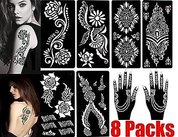 Amazon.com : Henna Tattoo Stencils (Pack of 8) Self Adhesive Body ...