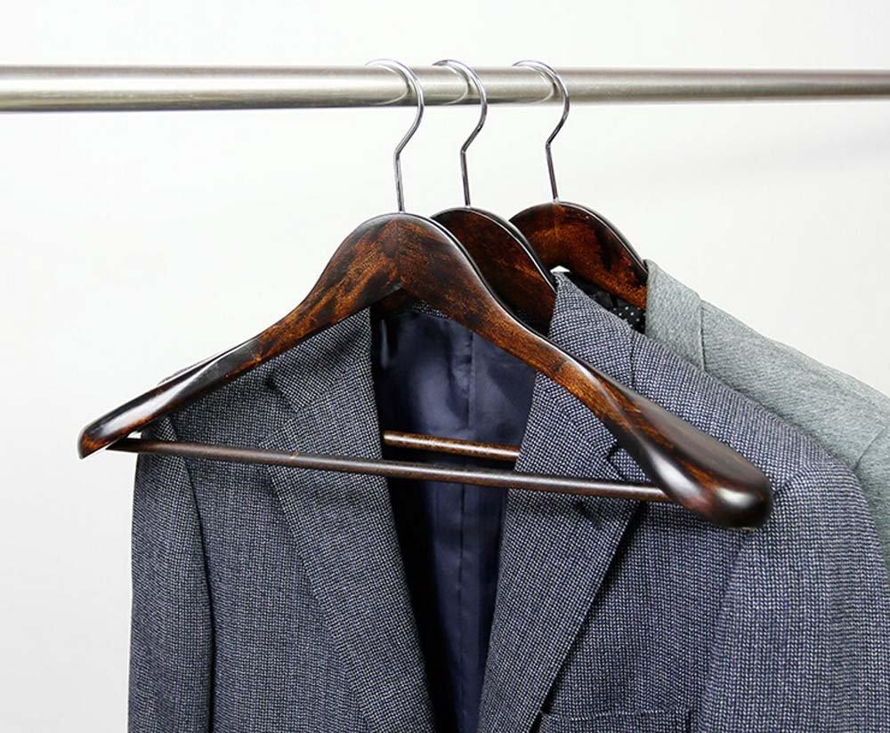 Morning-sunshine 5 Pack Solid Wooden Men Suit Hangers,Wide Shoulder Hangers,Chrome Hook Up,Big Capacity Hanger Morning sunshine