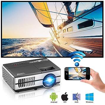 2018 Proyector inalámbrico Bluetooth WiFi portátil Airplay HDMI 1080P para teléfonos Android iOS iPhone iPad Mac Ordenador portátil Tablet Roku Mini LED LCD ...