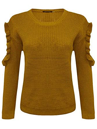 492bcaccb5f1 JAVOX Fashion s 2s Womens Ladies Frill Cut Out Long Sleeve Knitted Jumper  Top Size UK 8-14 (Large Mediume