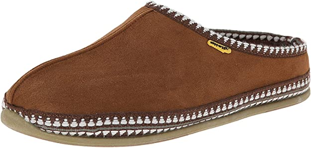 brown slippers with white embroidery