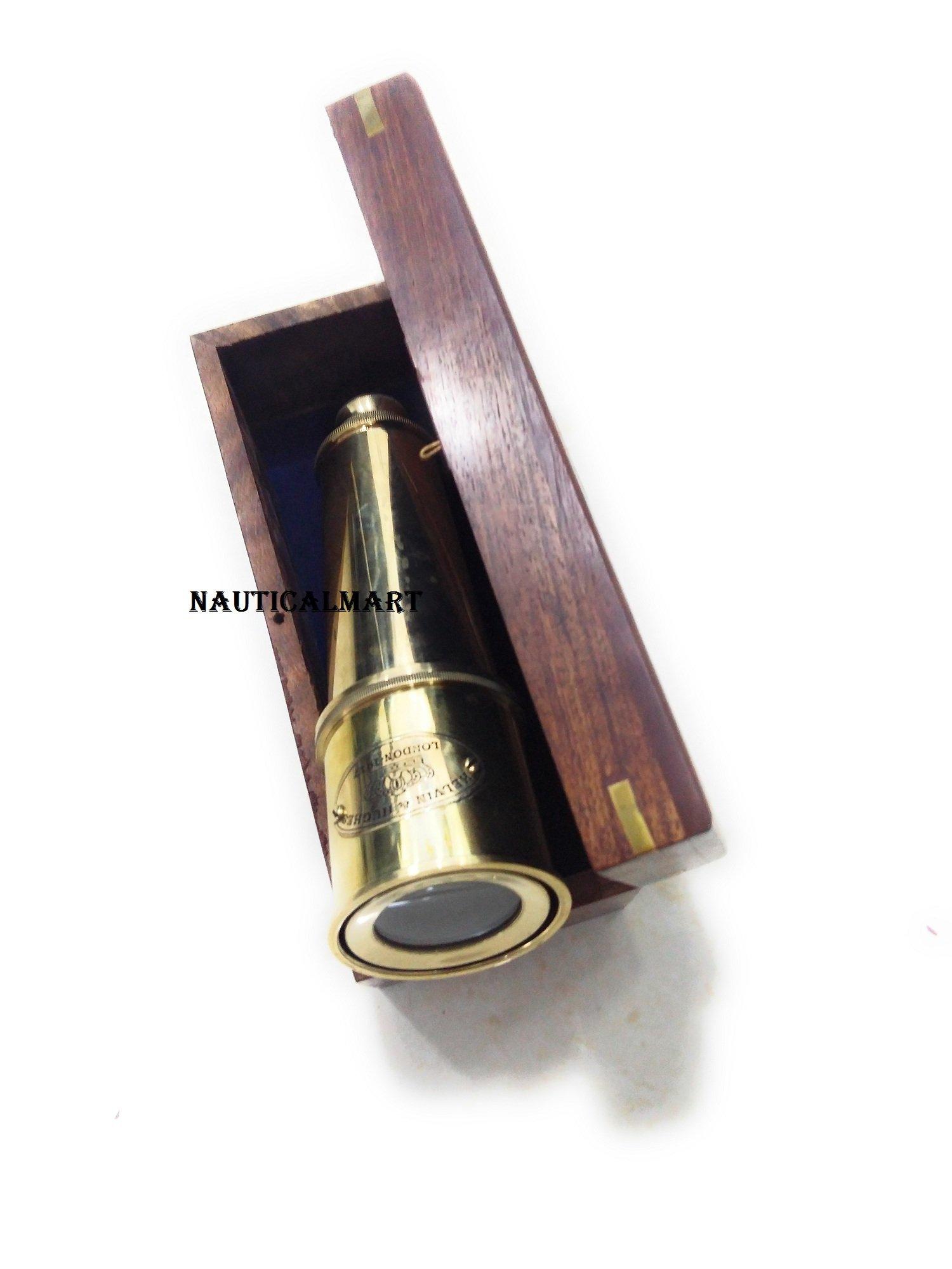 18'' Solid Brass' KELVIN & HUGHES LONDON - 1917' Telescope W/ Wooden Box By Nauticalmart by NAUTICALMART (Image #2)
