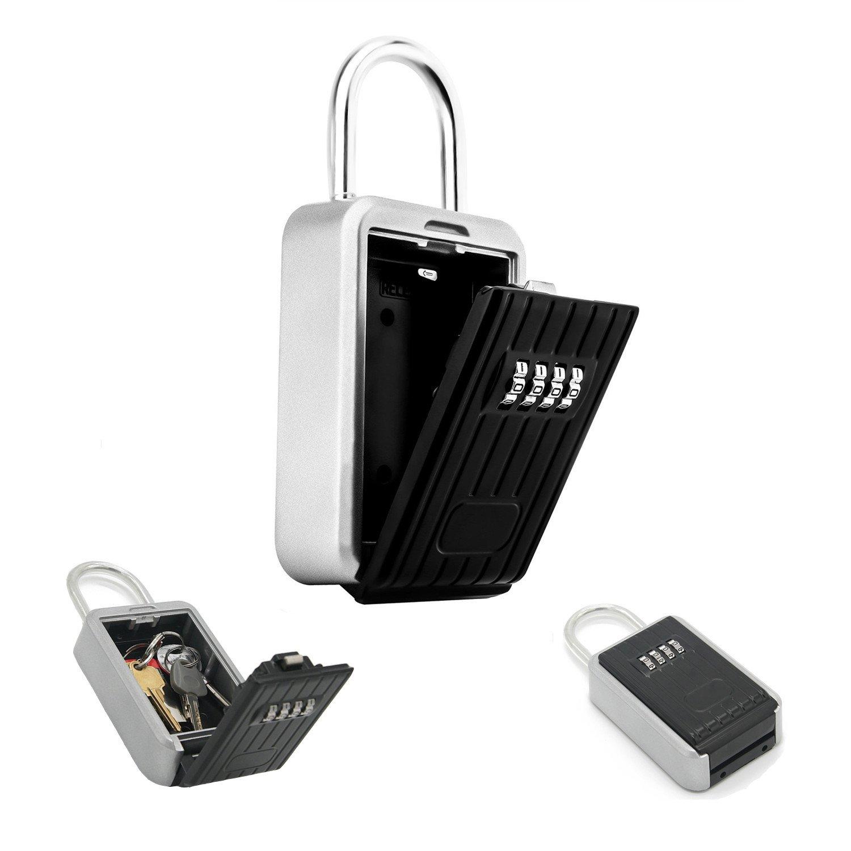 Hide Key safe lock box ZHIQII Portable Keysafe Padlock Box stores up to 6 keys on doorknob 4 Digit Combination exterior outdoor waterproof Secure Box Keys Holder for Home/House use Key Storage Lockbox