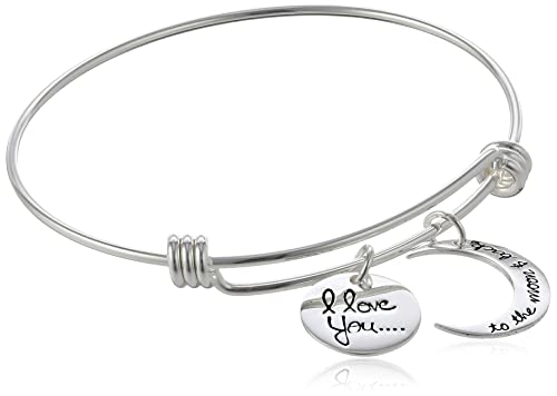 """Sterling Silver Adjustable """"I Love You To The Moon and Back"""" Bangle Bracelet"""