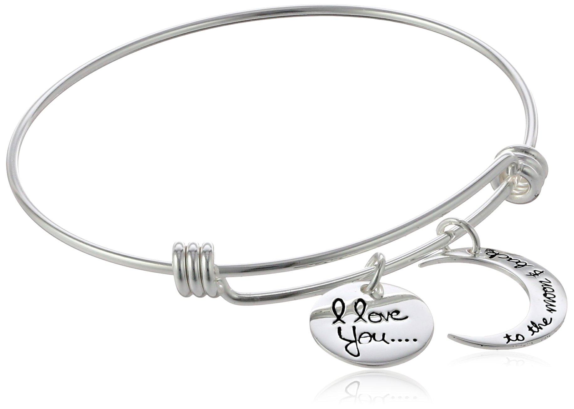 Sterling Silver Adjustable''I Love You To The Moon and Back'' Bangle Bracelet