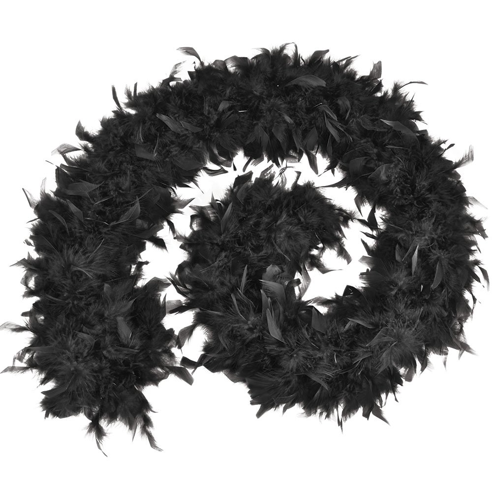 Feather Boa 80g Budget Boas Accessory for 20s 30s Flapper Fancy Dress Boas Feather Boa 80g. Black Budget by Partypackage Ltd Bristol