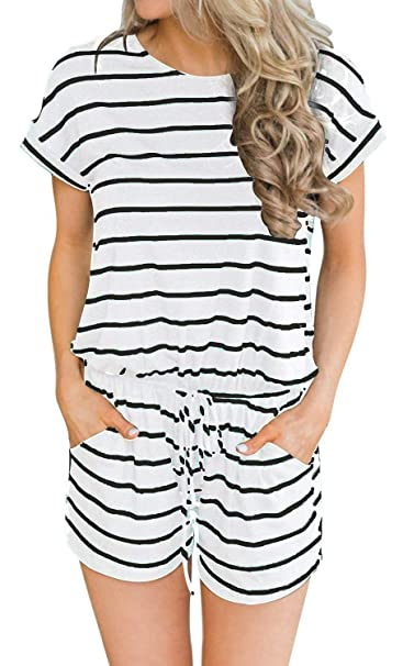 766bbf35b8ef Image Unavailable. Image not available for. Color  Short sleeve jumpsuits  for Women Casual Loose Striped Rompers ...
