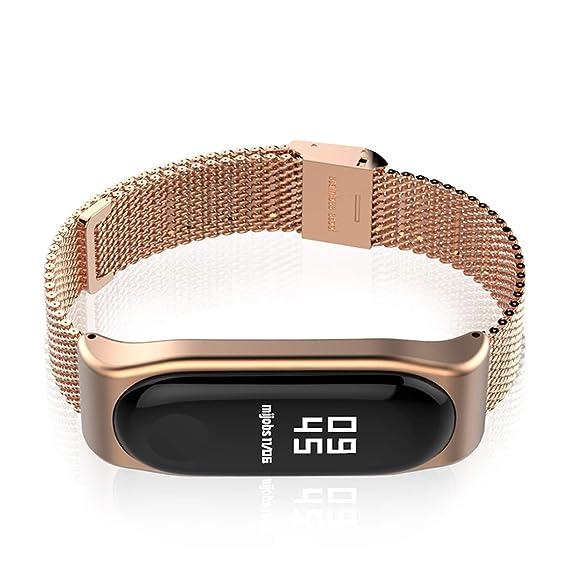 ... Mijobs Malla magnética Inteligente de reemplazo de la Correa de Banda de Pulsera para Xiaomi Mi Banda 3 del Reloj (Color: Oro Rosa): Amazon.es: Relojes