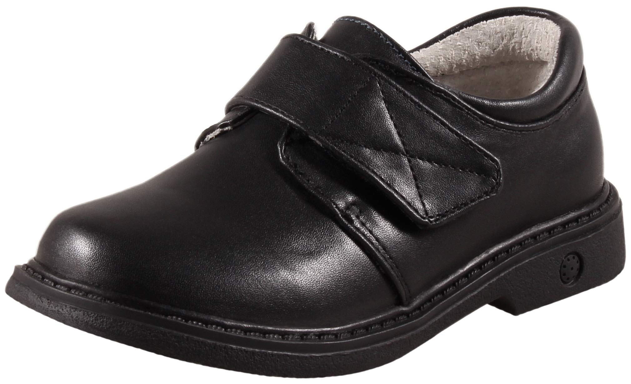 SKOEX Boy's School Uniform Easy Fasten Dress Oxford Shoe Black US Size 11 Black