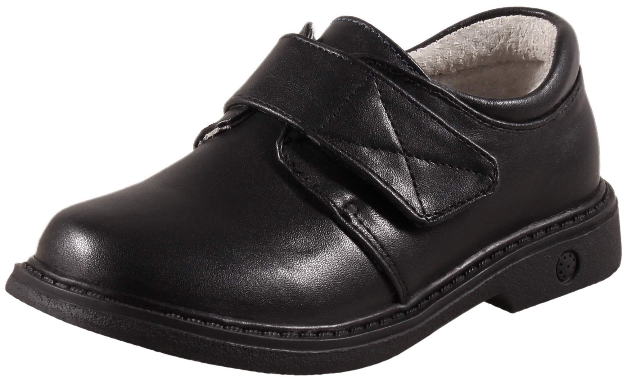 SKOEX Boy's School Uniform Easy Fasten Dress Oxford Shoe Black US Size 9 Black