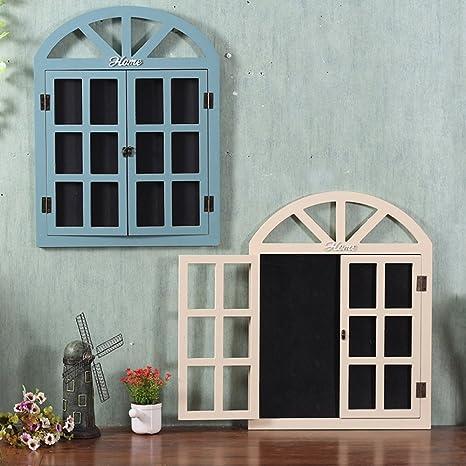 Amazon.com: zenggp Wooden Blackboard Decoration Fake Window ...