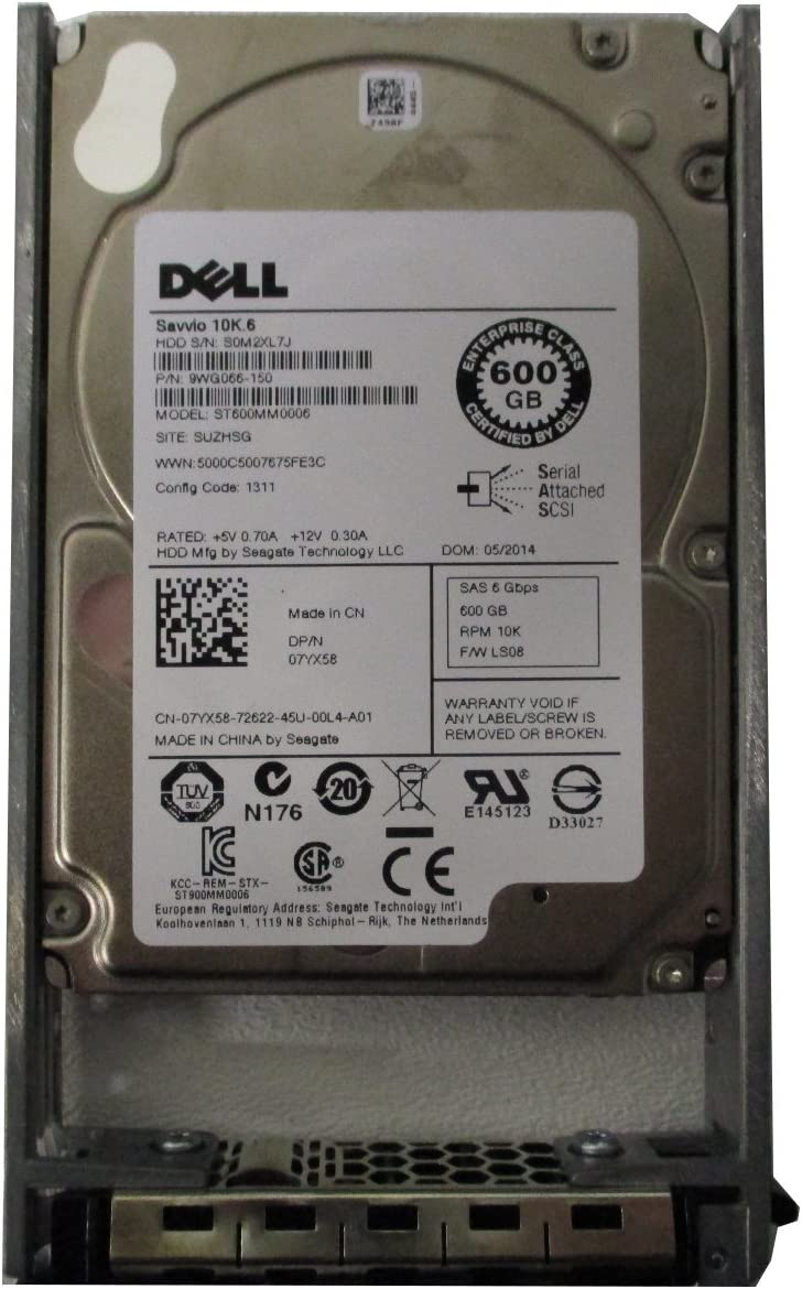 Renewed Dell 7YX58 600GB 10k RPM 2.5 SAS-6Gb//s hdd