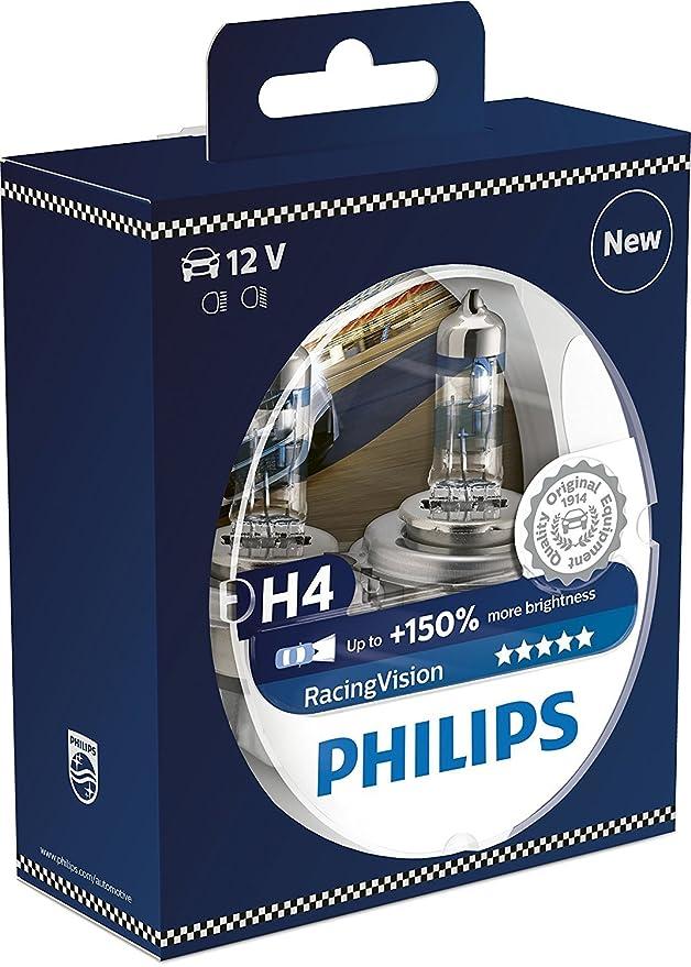 Amazon.com: Philips RacingVision H4 Headlight Bulbs (Twin) 12342RVS2 Xtreme Vision Upgrade Lot of 5 pcs: Automotive