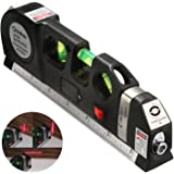 Qooltek Multipurpose Laser Level laser measure Line 8ft+ Measure Tape Ruler Adjusted Standard and Metric Rulers