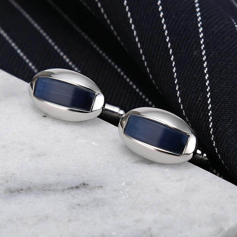 Bishilin Gioielli Gemelli da Uomo Acciaio Inossidabile Cristallo Quadrato Ovale Intarsiato Blu Gemelli da Polso Camicia Argento