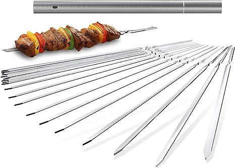 10X Flat Metal Barbecue BBQ Skewer Stainless Steel Shish Kebob Sticks wholesale
