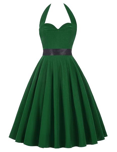 Vestido Verde Osccuro Pin up Años 50 Halter 7# Estilo 4 S