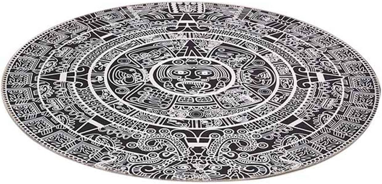 New Carpet Home Bedroom Anti Slip Living Room Floor Black White Totem Cartoon Printing Children Game Round Car Rug,as Shown,Diameter 150cm