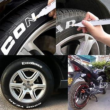 Thorityau 10 StÜcke Reifen Lackstift Weiß Reifen Stift Set Universal Wasserdichte Permanent Stift Fit Für Auto Motorrad Reifenprofil Gummi Metall Auto