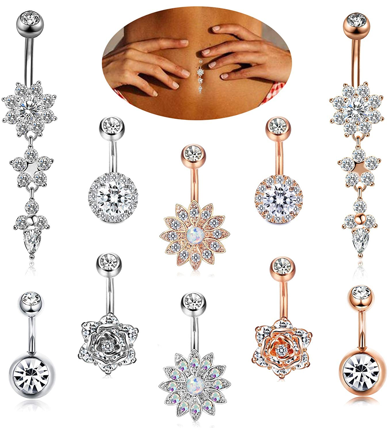 FIBO STEEL 8-10 Pcs 14G Dangle Belly Button Rings for Women Girls Navel Barbell Body Jewelry Piercing 14G P060SET-8