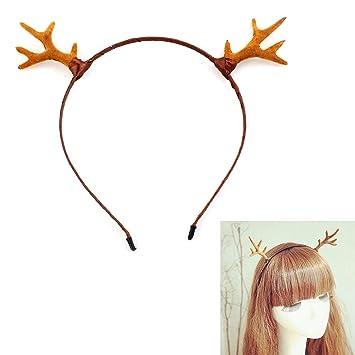 SYMTOP Fun Christmas Deer Reindeer Antlers Headband Holiday Birthday Party Head Hair Band Accessories