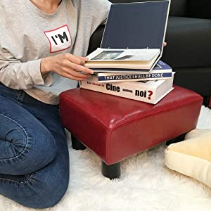 scriptract Footstool Footrest PU Leather Modern Seat Chair Small Ottoman Stool (Red)