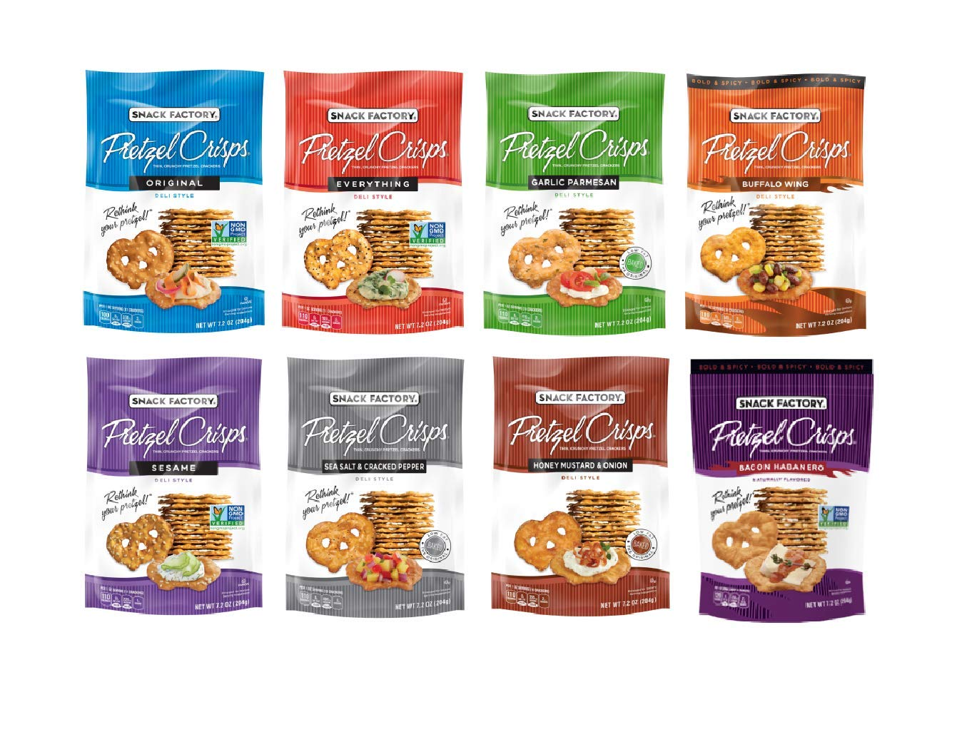 Snack Factory Deli Style Crunchy Pretzel Cracker Crisps, 8 Flavor Variety Pack, 7.2 Ounce Bags (Pack of 16)