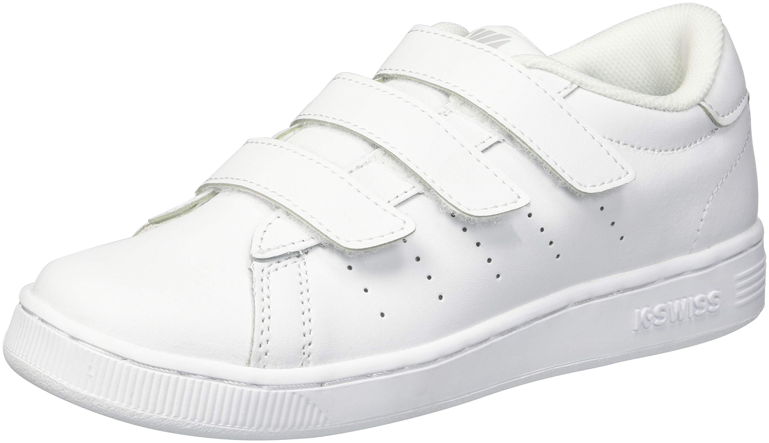 K-Swiss Unisex Clean Court 3-Strap Sneaker, White/Gull Gray, 12.5 M US Little Kid