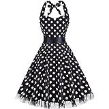 oten Women's Vintage Polka Dot Halter Dress 1950s Floral Spring Retro Rockabilly Cocktail Swing Tea Dresses