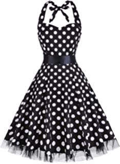 7dd1ebe112 OTEN Vintage Dresses, Women Floral Print 1950's Rockabilly Halter Swing  Dress