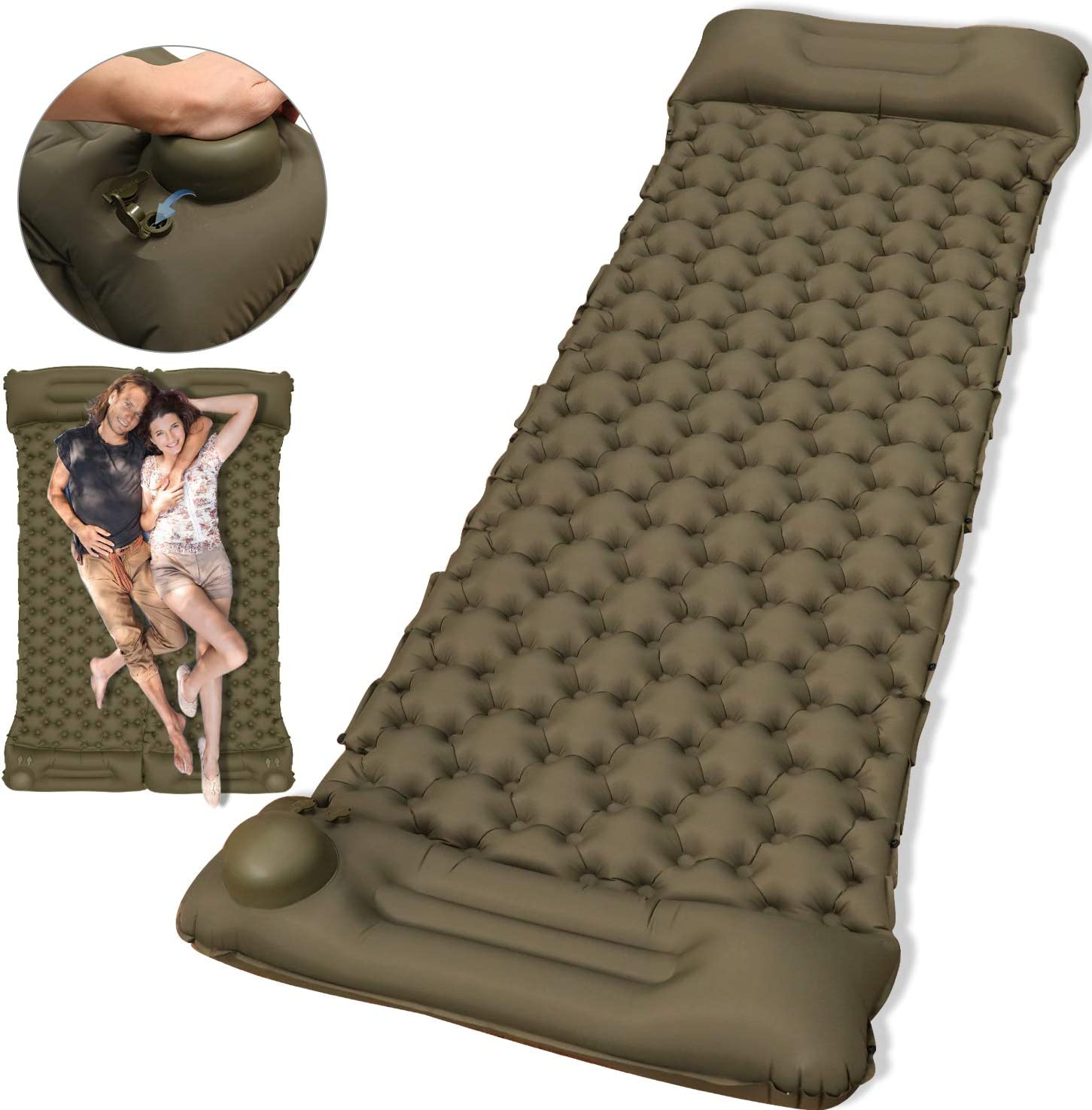 Camping Sleeping Pad Buttons To Make Double Air Mattress for Backpacking Inflatable /& Compact Lightweight Traveling 2020 Newest Ultralight Inflatable Sleeping Mat With Build-in Pump Hiking
