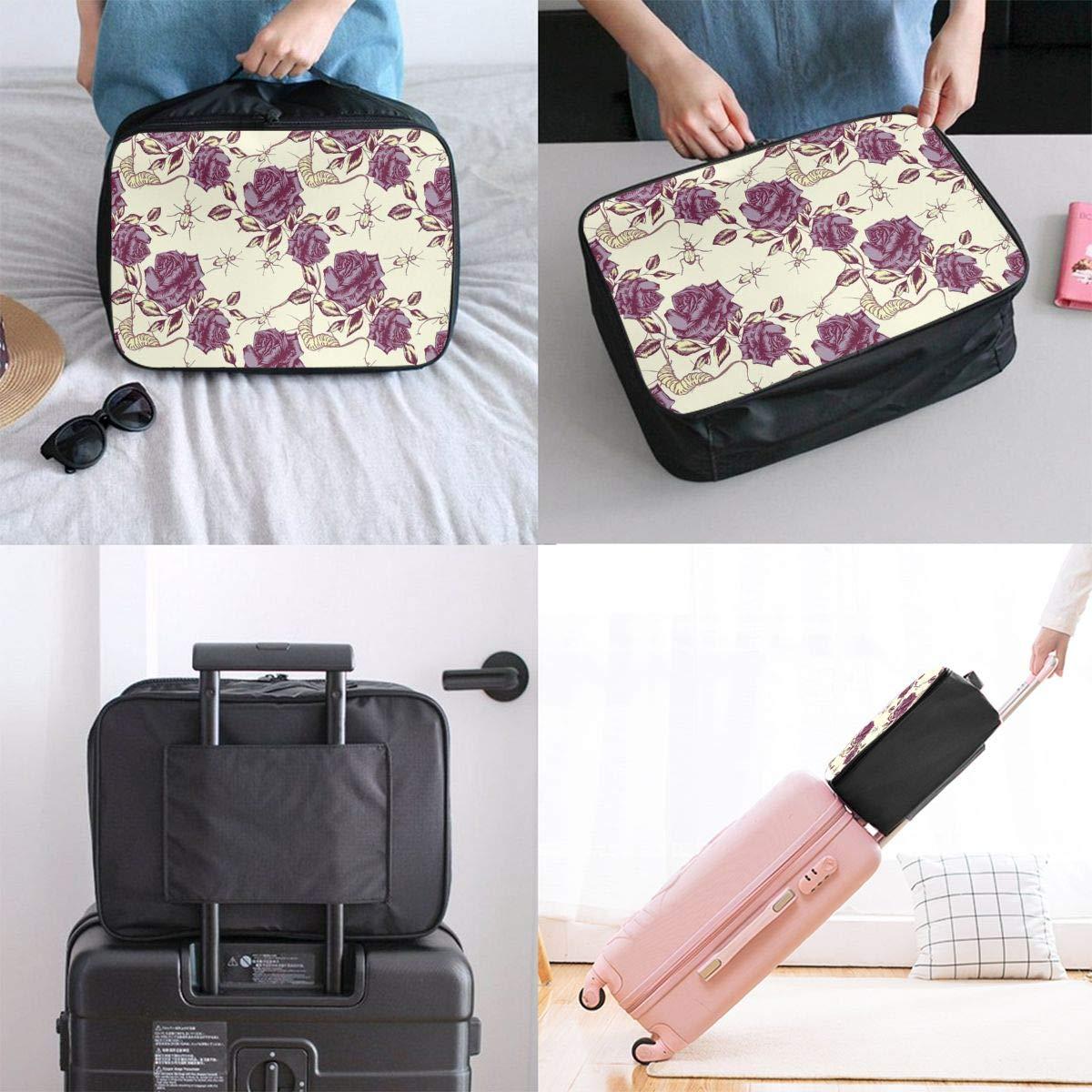 Travel Luggage Duffle Bag Lightweight Portable Handbag Retro Flowers Print Large Capacity Waterproof Foldable Storage Tote