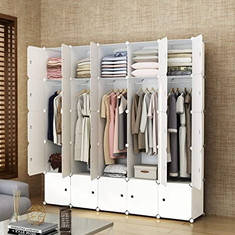 Elpitha Wardrobe Portable Clothes Closet Organizer Bedroom Armoire Dresser  Cube Storage,10 Cubes&5 Hanging Section