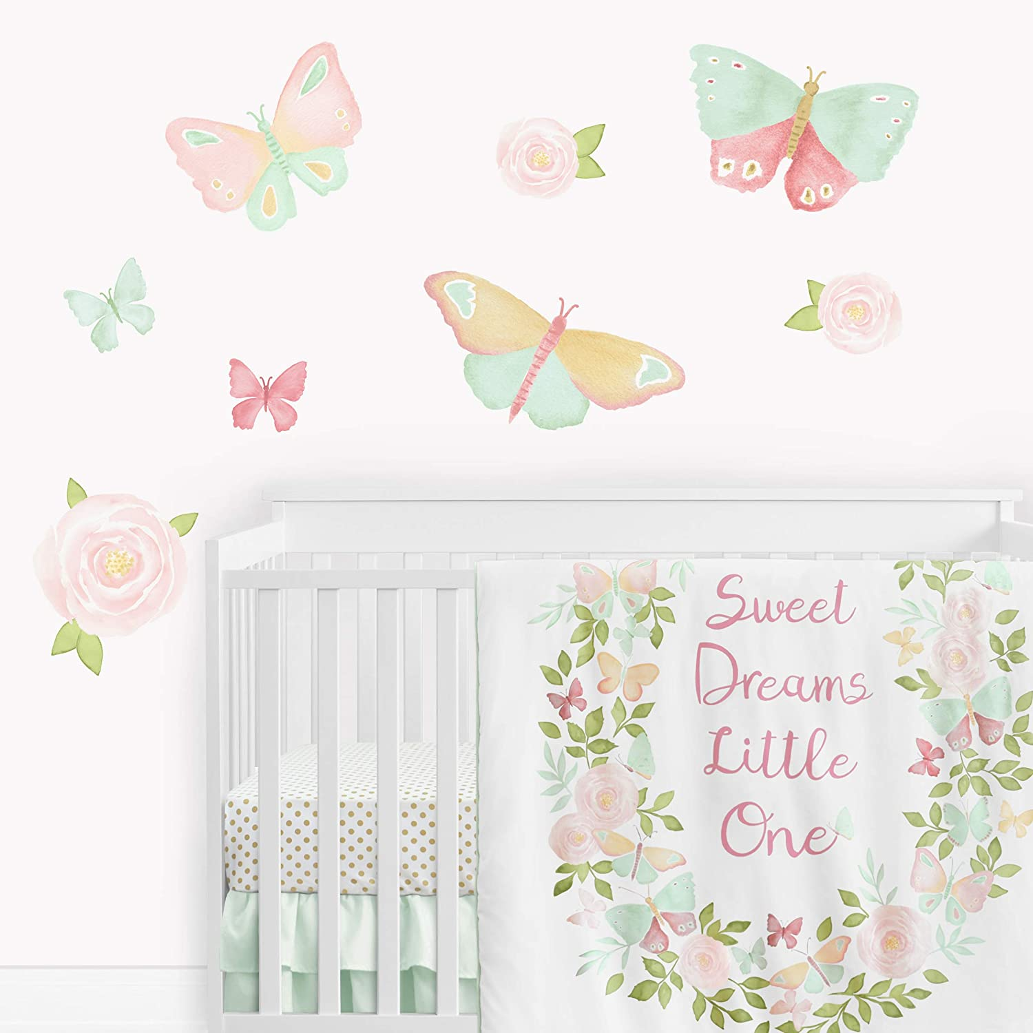 Sweet Jojo Designs Butterfly Floral Rose Large Peel and Stick Wall Decal Stickers Art Nursery Decor Mural - Set of 4 Sheets - Blush Pink, Mint and White Shabby Chic Watercolor Boho Butterflies Garden