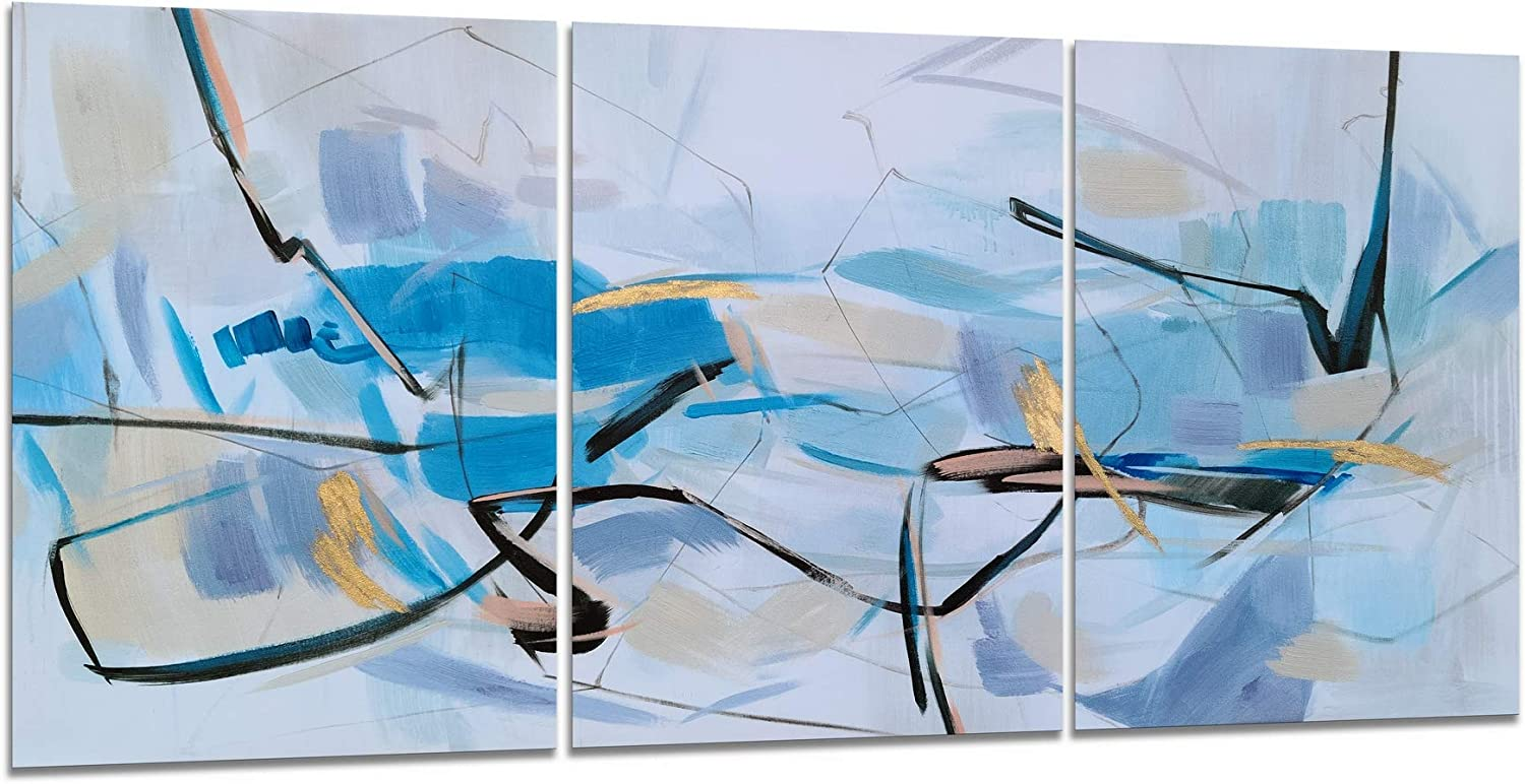 Yihui Arts 3 Piece Canvas Wall Art Hand Painted Textured Black Blue Pictures with Gold Foil Colorful Abstract Paintings Aesthetic Artwork for Living Room Bedroom Bathroom Decor