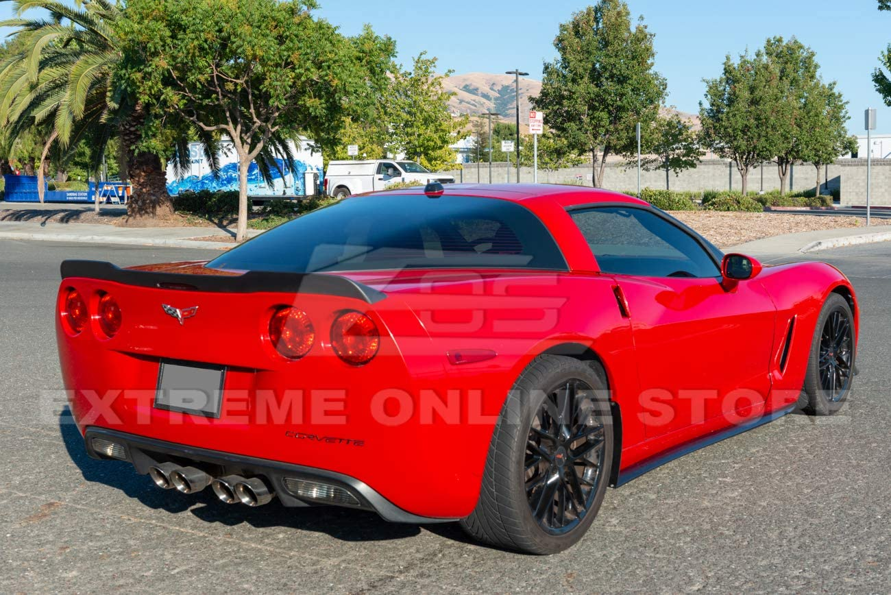 ZR1 Extended Style ABS Plastic Matte Black Rear Trunk Lid Wing Spoiler Replacement for 2005-2013 Chevrolet Corvette C6 All Models