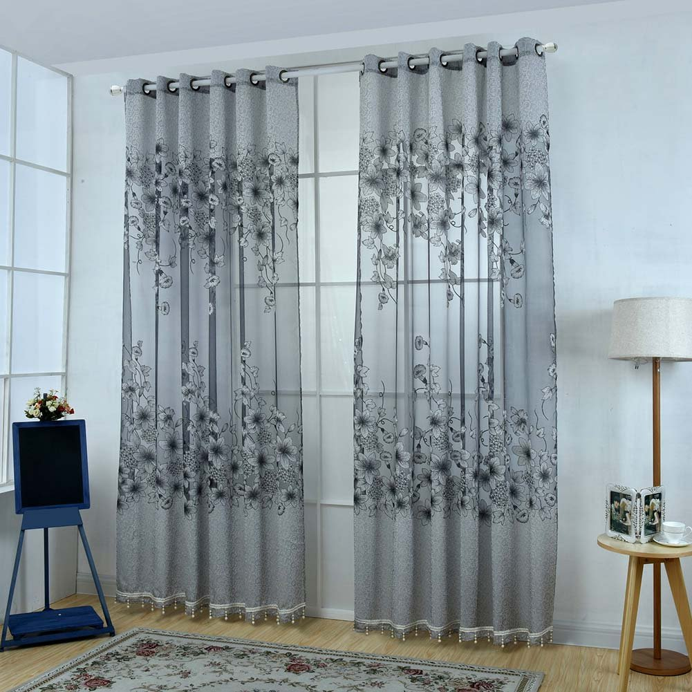 Messagee Luxury 2 Panels Shade Cloth Drape Embroidery Curtain Voile Bedroom Half-Blackout Lining Valance Grey