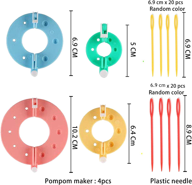 Leslady Pom-Pom Maker 4 Diverse Dimensioni la Fabbricazione di Pompon Kit di Attrezzi con tagliafilo e Forbici per Maglieria Artigianale Fai da Te