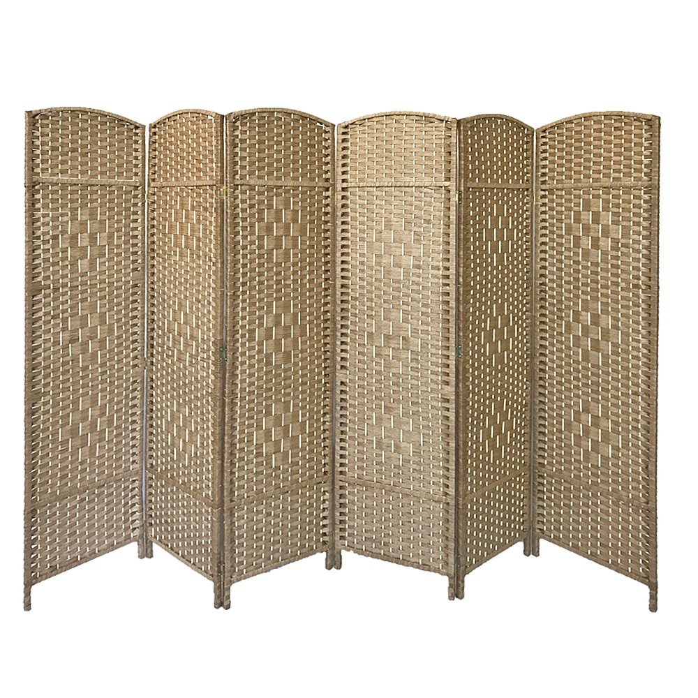 Britoniture Solid Weave Hand Made Wicker Room Divider Separator Privacy Screen Panel (6, Natural) BOCHEN