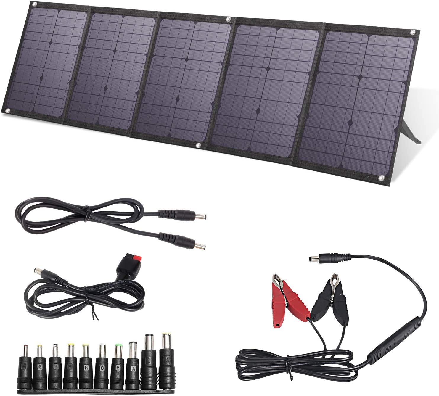 BigBlue 100W Portable Solar Panels Kit with PD Type C, Dual USB Ports(Fast Charging) and 18V DC Output, Solar Phone Charger for Power Station, iPhone, iPad, Some Laptops, Camera, GPS etc.