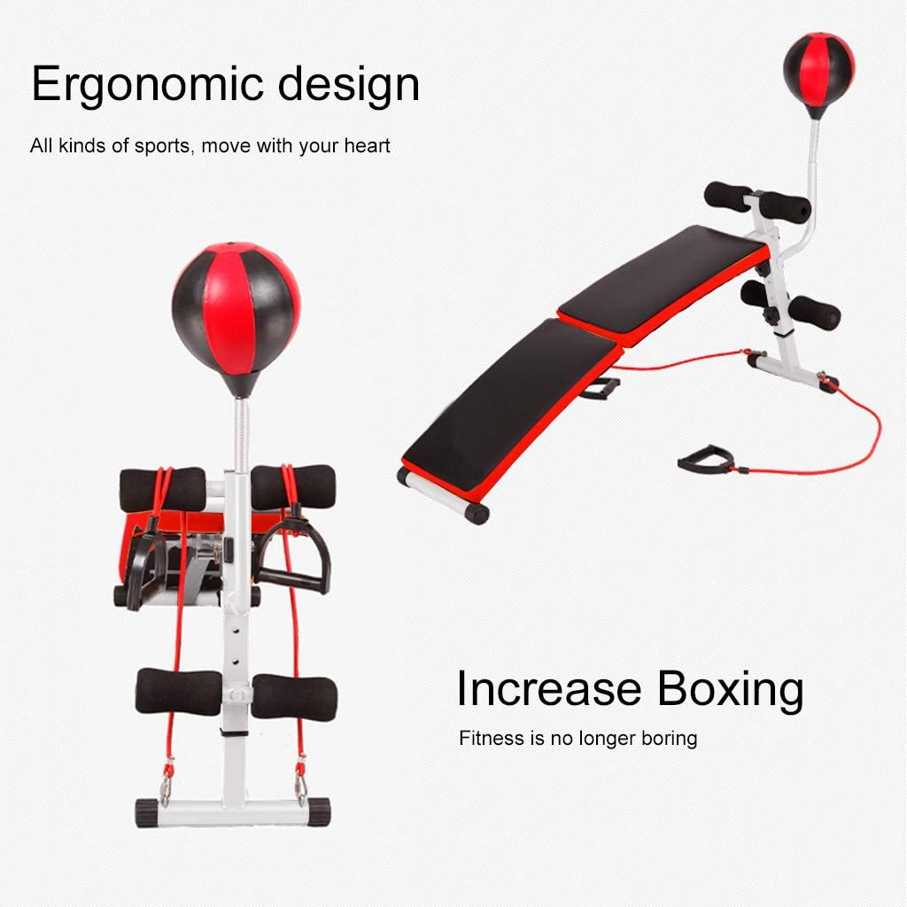 with Resistance Bands Abs Arms Training Back Sit Up Bench Workout Incline//Decline Bench Strength Training Equipment for Home Gym Ab Exercises Foldable Weight Bench Fitness Bench for Chest