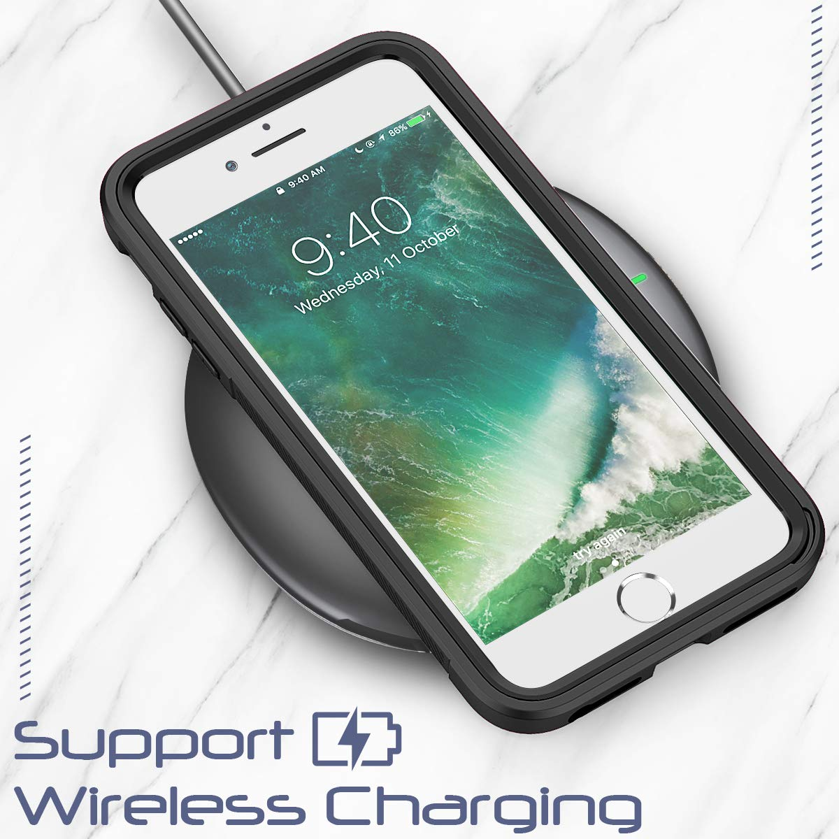 SEYMAC iPhone 8 Plus Case, Clear Shock Absorption Dual Layer Hybrid Protection Anti Scratch Easy Grip Case [Support Wireless Charging] for 5.5\