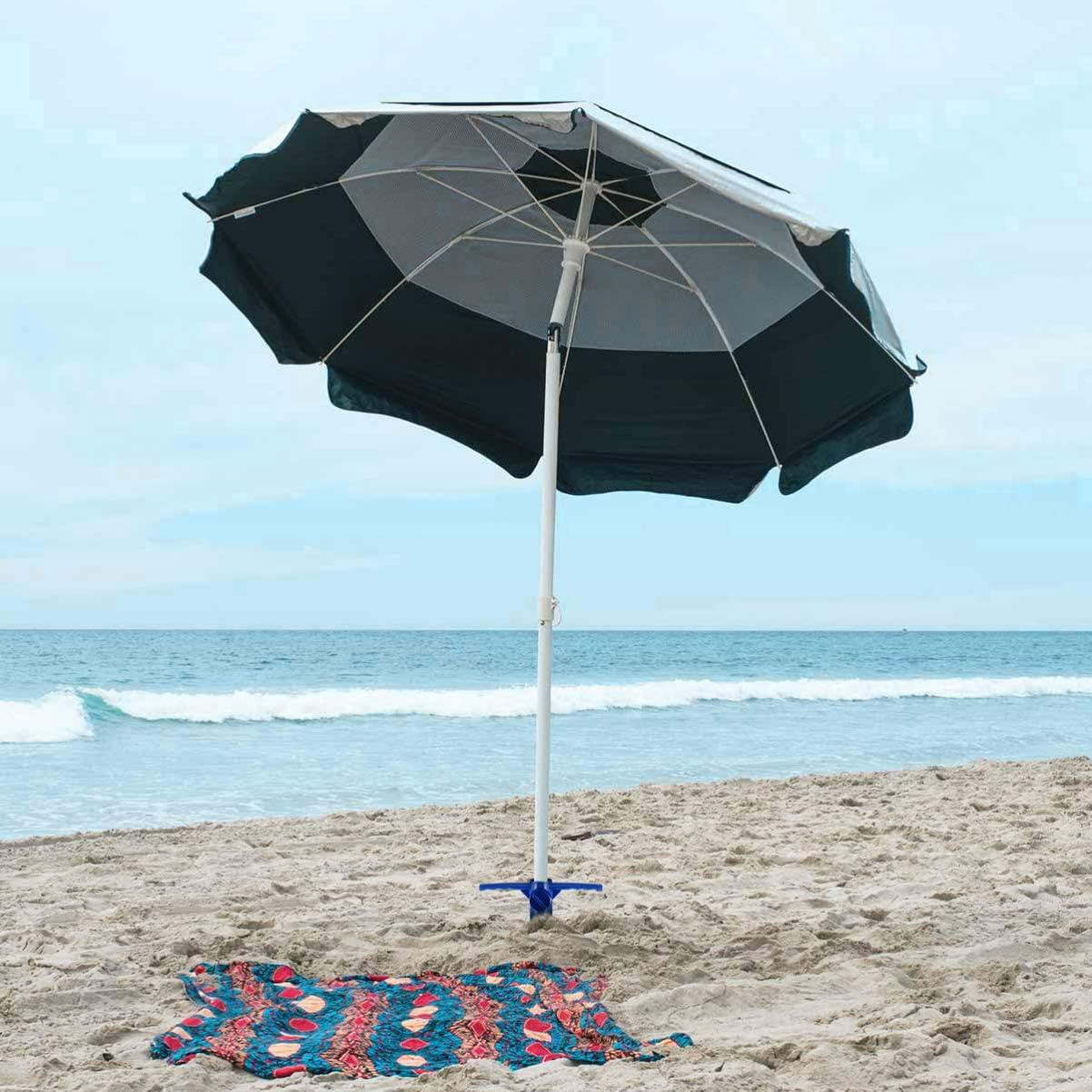con ancoraggio regolabile 2 pezzi Yardwe colore: blu Supporto per ombrellone da spiaggia