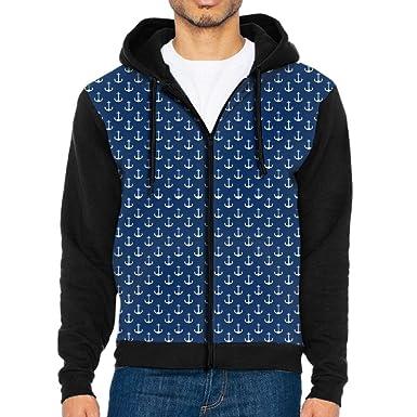 64fb8482b35 Mars Sight Sweatshirt Men s Navy Blue Anchor Full Zip Up Hoodie Jacket With  Pocket at Amazon Men s Clothing store
