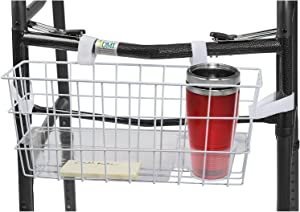HealthSmart Universal Walker Storage Basket withInsert Tray and Cup Holder, No Tools Needed, White