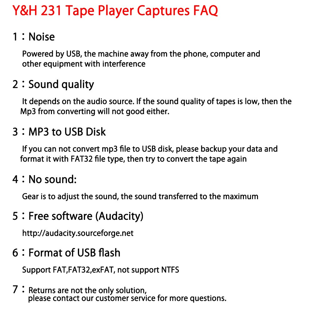 Y/&H Cassette Tape Player Record Tape to MP3 Digital Converter,USB Cassette Capture,Save to USB Flash Drive Directly,No Need Computer