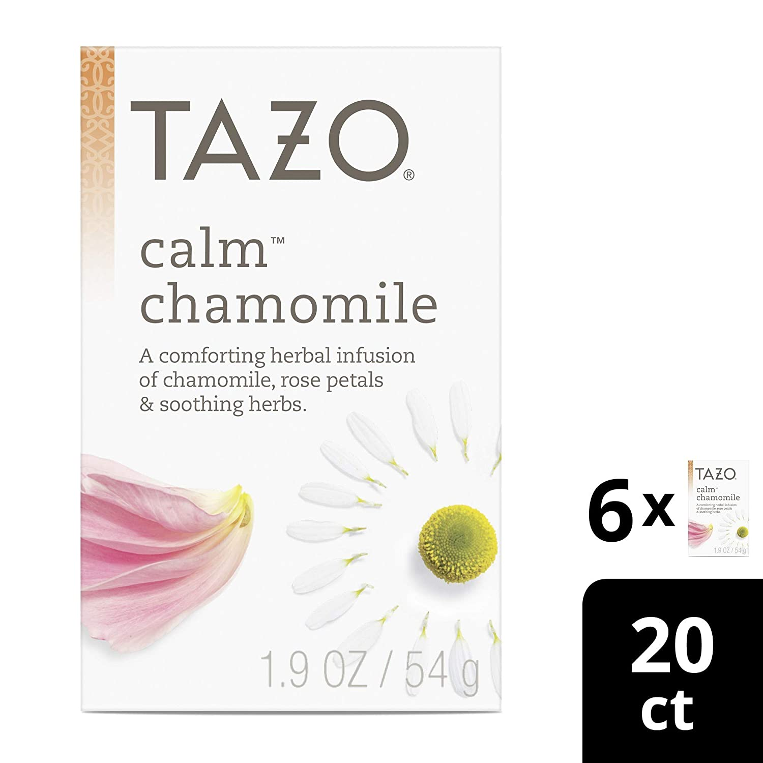 Tazo Tea Bags for a cup of relaxing chamomile tea Calm Chamomile Herbal Tea caffeine free 20 count pack of 6