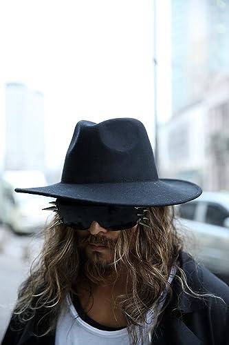 ecf10b885f3 ByTheR Men s Fashion ByTheR Noir Wool Felt hat Chic Black Urban Fedora