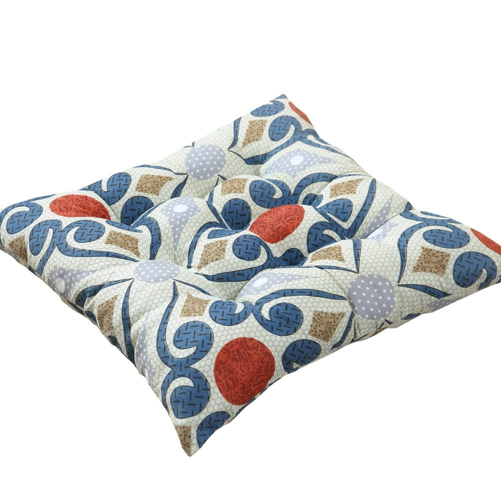 Zhiyuan Printing Reversible Brushed Microfiber Seat Cushion Chair Pad, Blue Flower ZD170011G